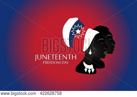 Silhouette Of African American Woman And Man With Headdress With Juneteenth Flag Pattern. Freedom, P