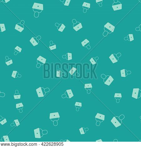 Green Freelancer Icon Isolated Seamless Pattern On Green Background. Freelancer Man Working On Lapto