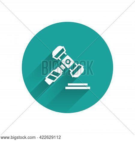 White Judge Gavel Icon Isolated With Long Shadow. Gavel For Adjudication Of Sentences And Bills, Cou