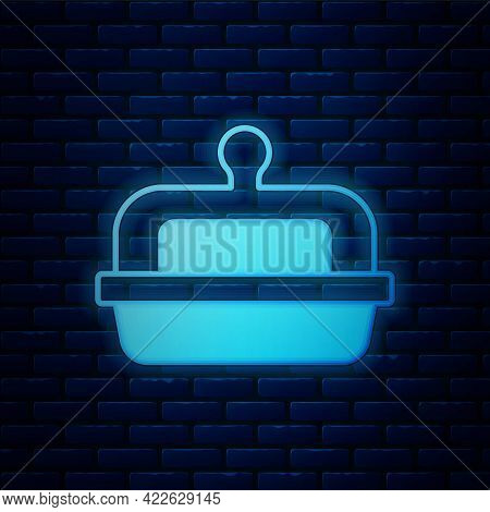Glowing Neon Butter In A Butter Dish Icon Isolated On Brick Wall Background. Butter Brick On Plate.