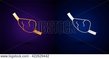 Gold And Silver Pirate Eye Patch Icon Isolated On Black Background. Pirate Accessory. Vector
