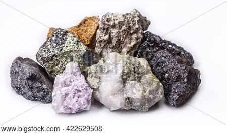 Bauxite, Pyrolusite, Galena, Pyrite, Chromite, Lepidolite, Chalcopyrite. Collection Of Stones Extrac