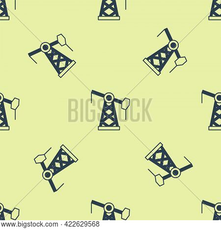 Blue Oil Pump Or Pump Jack Icon Isolated Seamless Pattern On Yellow Background. Oil Rig. Vector