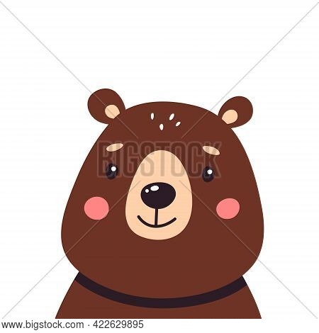 Cute Brown Bear On A White Isolated Background, Vector Illustration