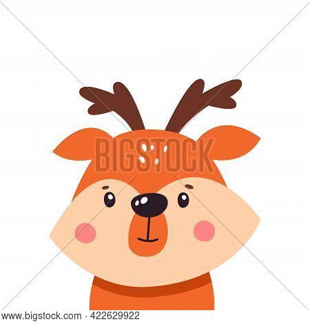 Cute Deer On A White Background, Cartoon, Vector Illustration, Logo