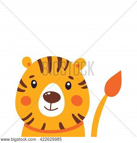 Cute Tiger Vector Illustration. Hand Drawn Cute Print For Posters, Cards, T-shirts