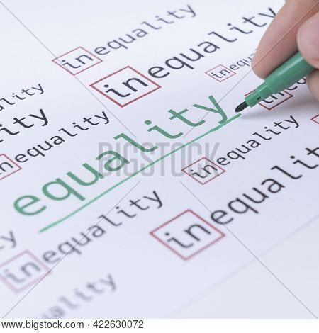 A Hand With A Green Marker Underlines The Word Equality Surrounded By The Words Inequality. Gender I