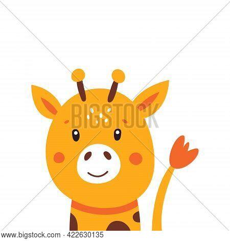 Illustration Of A Little Cute Giraffe On A White Background. Vector Illustration