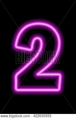 Neon Pink Number 2 On Black Background. Learning Numbers, Serial Number, Price, Place.