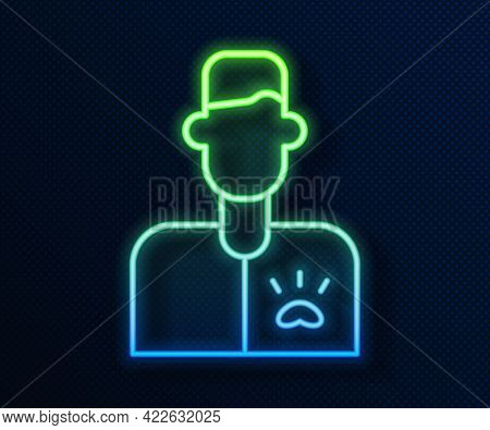 Glowing Neon Line Veterinarian Doctor Icon Isolated On Blue Background. Vector