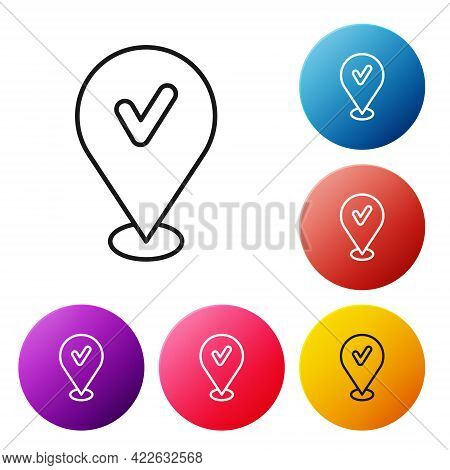 Black Line Map Pin With Check Mark Icon Isolated On White Background. Navigation, Pointer, Location,