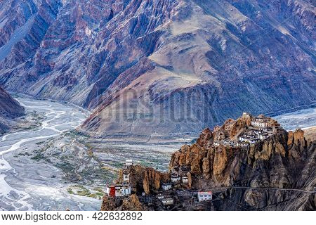 Famous indian tourist landmark Dhankar monastry perched on a cliff in Himalayas. Dhankar, Spiti Valley, Himachal Pradesh, India