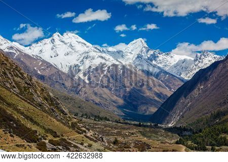 View from Chitkul Village in Sangla Valley, Himachal Pradesh, India