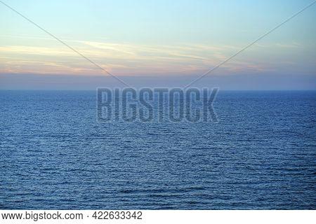 Blue Morning Over The Deep Sea Summer. Blue Sunrise Over Mediterranean Deep Sea