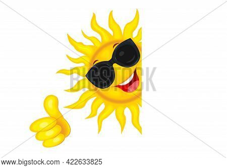 Cheerful Cartoon Sun In Goggles From The Sun. Sun On A White Background. Smiling Sun And A Hand With