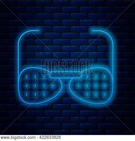 Glowing Neon Line Glasses For The Blind And Visually Impaired Icon Isolated On Brick Wall Background