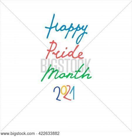 Happy Pride Month 2021 Handwritten Greeting On Dark Blue Background