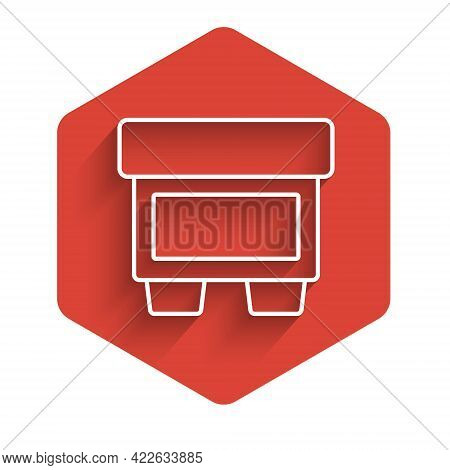 White Line Fuse Of Electrical Protection Component Icon Isolated With Long Shadow. Melting Breaking