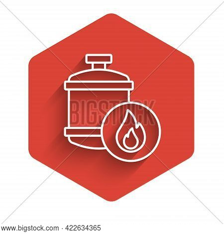 White Line Propane Gas Tank Icon Isolated With Long Shadow Background. Flammable Gas Tank Icon. Red
