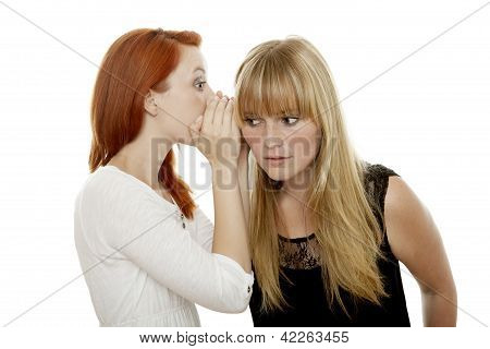Young Beautiful Red And Blond Haired Girls Telling A Secret