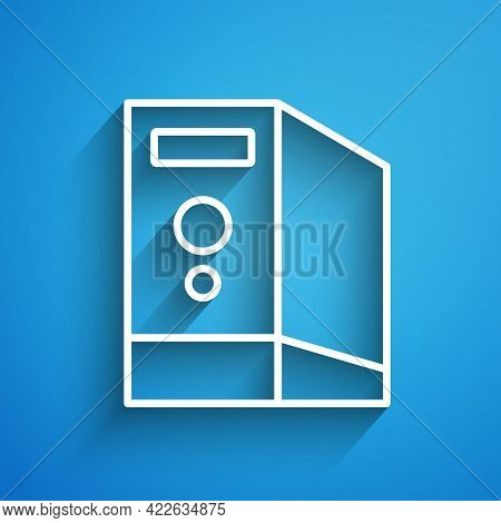 White Line Case Of Computer Icon Isolated On Blue Background. Computer Server. Workstation. Long Sha