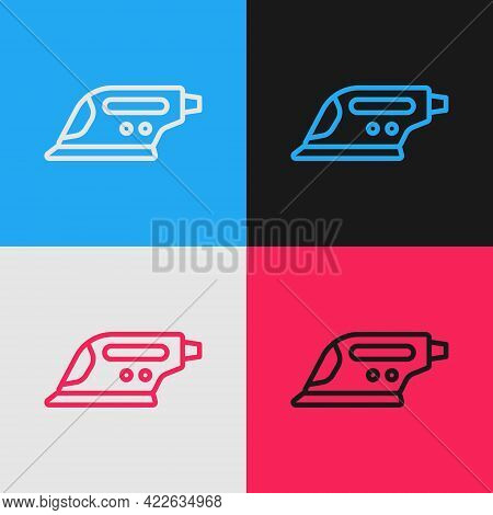Pop Art Line Electric Iron Icon Isolated On Color Background. Steam Iron. Vector
