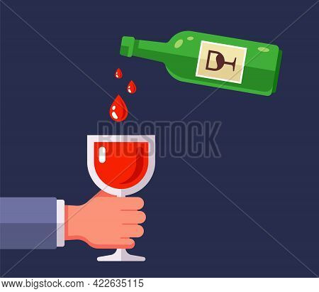 Pour Red Wine From A Bottle Into A Glass. Flat Vector Illustration.