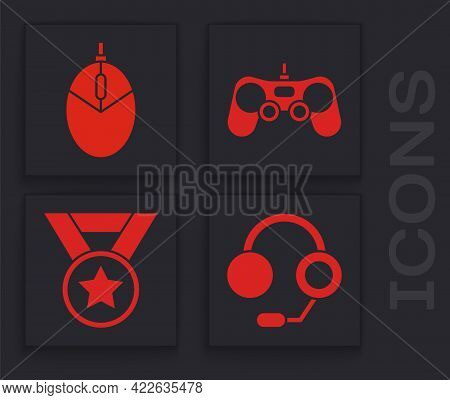 Set Headphones, Computer Mouse Gaming, Gamepad And Medal Icon. Vector