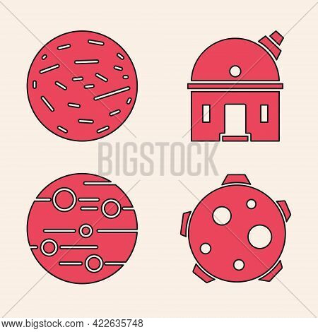 Set Planet, Planet Venus, Astronomical Observatory And Planet Mars Icon. Vector