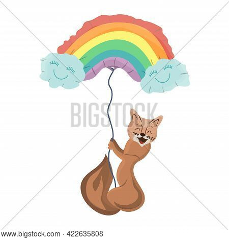 Cute Sable Fly In Balloon In Shape Of Lgbt Rainbow. Joyful Pet Character Flies. Smilling Sable. Firs