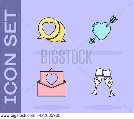 Set Glass Of Champagne, Heart In Speech Bubble, Envelope With Valentine Heart And Amour And Arrow Ic