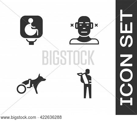 Set Human Broken Arm, Disabled Wheelchair, Dog In And Deaf Icon. Vector