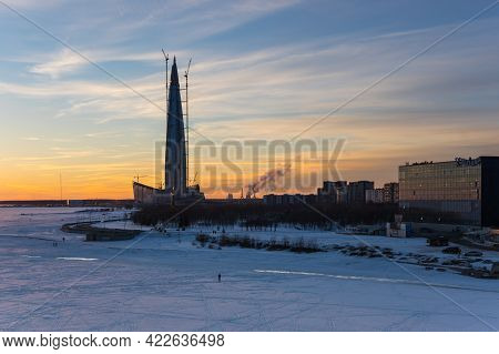Saint-petersburg, Russia - March 29, 2018: Panoramic View Of Lakhta Center And The Finnish Gulf, Sai