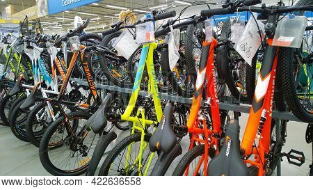 St. Petersburg, Russia - May 15, 2021: Row Of New Modern Bicycles In Supermarket. Sporting Goods And