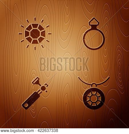 Set Pendant On Necklace, Diamond, Jewelers Lupe And Engagement Ring On Wooden Background. Vector