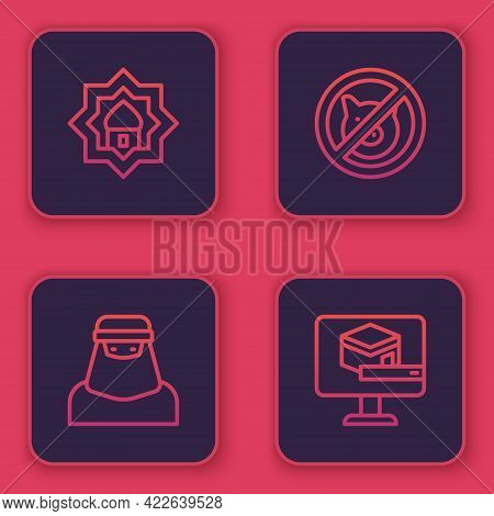 Set Line Muslim Mosque, Woman In Niqab, No Pig And Kaaba Mosque. Blue Square Button. Vector
