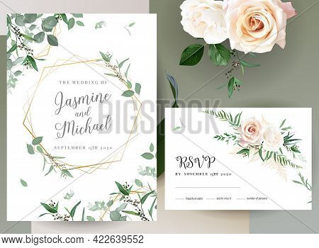 Greenery, Pink An Creamy Rose Flowers Vector Design Invitation Frames