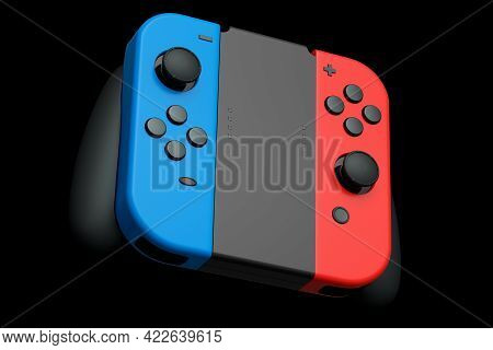 Portable Video Game Controllers Attached To Touch Screen On Black Background. 3d Rendering Of Gamepa