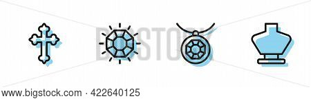 Set Line Pendant On Necklace, Christian Cross, Diamond And Necklace Mannequin Icon. Vector
