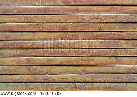 Old Wood Vintage Planks Covered With Flaky Brown Paint. Wood Texture.