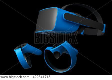 Virtual Reality Glasses And Controllers For Online And Cloud Gaming On Black Background. 3d Renderin