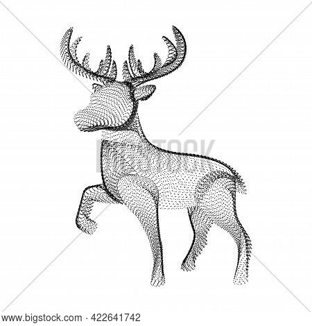Reindeer Silhouette Consisting Of Black Dots And Particles. 3d Vector Wireframe Of Horned Deer With