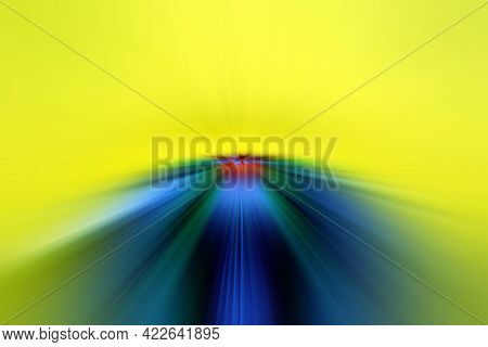Abstract Surface Of Radial Blur Zoom   In Green, Blue And Yellow Tones. Bright Colorful Background W