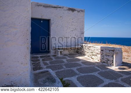 Agios Loukas Chapel On The Kythnos Island Cyclades, Greece In June, 2021.