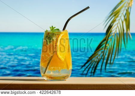 Summer Alcohol Drinks, Beach Cocktail Party. Glass Of Gin Tonic Tropic Cocktail With Orange Fruit An