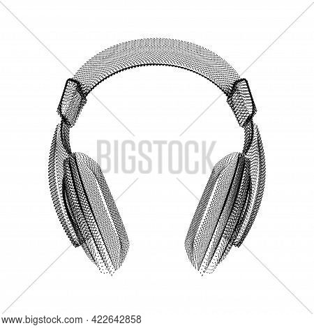 Headphones Silhouette Consisting Of Black Dots And Particles. 3d Vector Wireframe Of An Audio Device