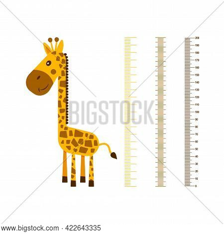 Growth Ruler. Kids Meter Walls With Cute Giraffe. Cheerful Funny Animal With Long Neck With Scale. C