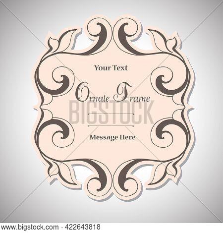 Vintage Label Frame Art-deco Vector Image. Vector Damask Vintage Baroque Scroll Ornament Swirl. Vict