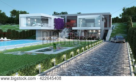 3d Rendered Modern Luxury House With A Pool, For Contemporary Architectural Design Backgrounds.