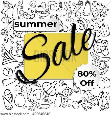 Summer Sale Banner. 80% Off. White Background. Vegeterian Food. Healthy Food.